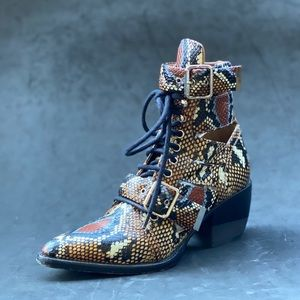 CHLOE snake embossed multicolor buckle/lace boots